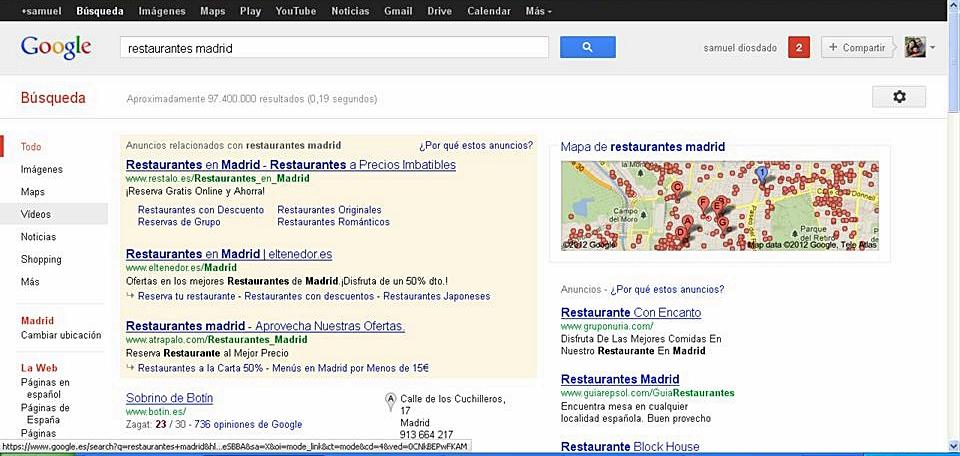 Resultados Google Search