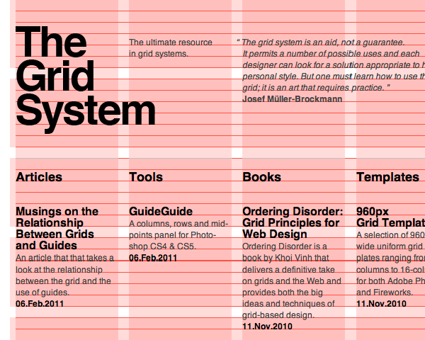 The grid system, responsive web design