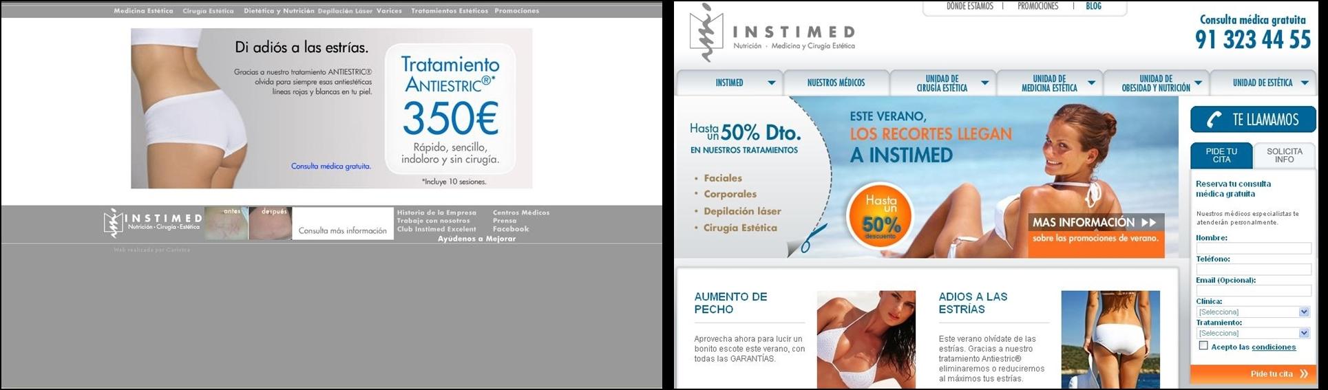 Antigua y nueva homepage Instimed