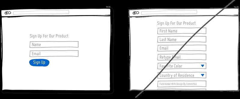 Reducir el número de campos de los formularios.
