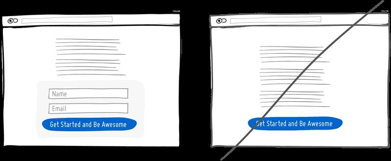 Mostrar al usuario el formulario a rellenar en lugar de enviarle a otra página
