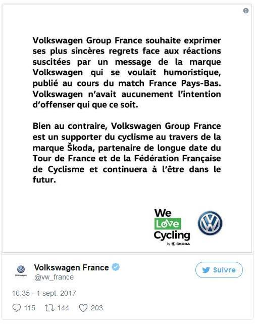 Disculpas Volkswagen en Twitter bad buzz
